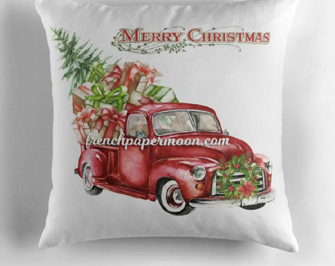 "18"" Square Christmas Pillow, Digital Red Christmas Pickup Truck, Presents, Christmas Tree, Christmas Pillow"