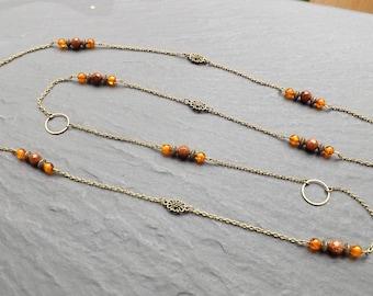"""""""ambrosia"""" copal and Sunstone necklace"""