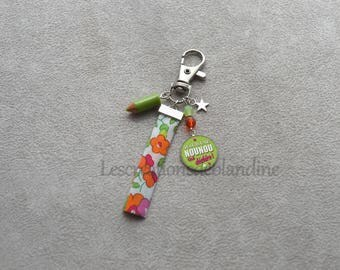 Keychain special nanny fabric Liberty, assorted Crystal beads