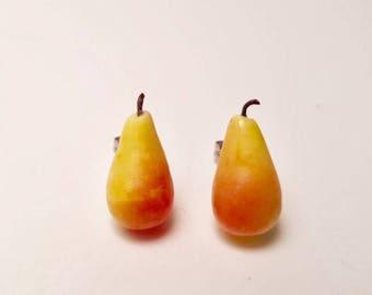 Pear (large) studs - pear studs - pear earrings - fruit earrings - Fruit Salad -  fruit stud earrings - food jewellery - Teachers Gift