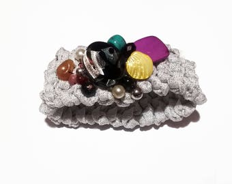 Knitted bracelet with pearls, 2beEcochic Knitted, white lamè, black lamè, green lamè, lilac lamè Birthday gift for her