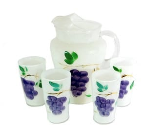 Mid Century Gay Fad Frosted Grape Pitcher and Four Tumblers Set, Retro Juice, Water, Beverage Set