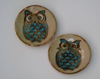 TWO SMALL OWL dishes,  Owl trinket dish,  Spoon Rest, Salt Dish, Hostess Gift, soy sauce,