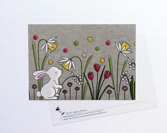"Carte postale "" petit lapin blanc "" illustrée par Pirate grenadine"