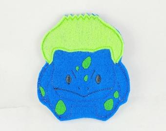 Blue Green Dinosaur Monster Finger Puppet - Finger Puppets - Quiet Toy - Christmas Gift - Stocking Stuffer - Embroidered Felt Finger Puppet