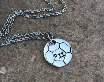 Soccer Necklace Personalized hand stamped with number