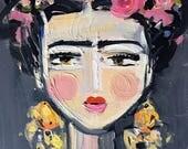 Fine Frida, Frida Print, whimsical Frida art, Frida print on paper