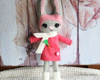 Winter Bunny Doll in Pink and White