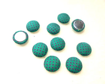 10 cabochon, fabric, 12mm, turquoise / pink