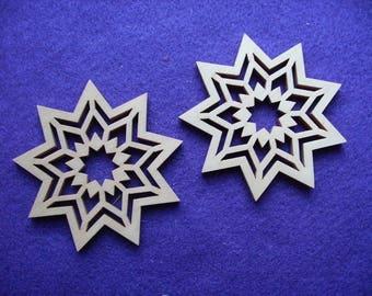 2 stars, wood, 7 cm (24-0007A)