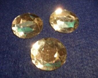 3 gemstones round, colorless (258)