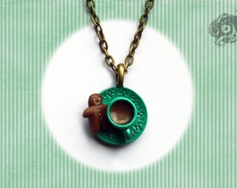 Miniature teacup & gingerbread man pendant in metallic green // Metal cup + polymer clay biscuit // Steampunk Retro gift // Chain sold sep.