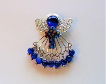 Blue Cat's Eye and Millefiori Angel Pin