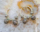 Natural Aquamarine Silver Earrings, Boho Gypsy Earrings, Tribal Fusion Earrings, Bellydance Silver Earrings, Hoop Earrings, Beaded Earrings