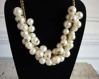 Vintage  Cluster Chunky Faux White Pearl Gold Tone Necklace