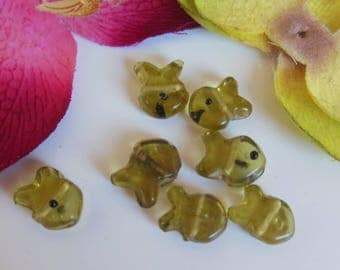 set of 6 fish glass beads