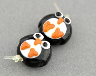 Penguin Lampwork Glass Bead Pair