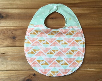 Bib ~ Two Toned/Quilted ~ Aztec//Triangle//Tribal//Mint//Gold//Southwestern//Native