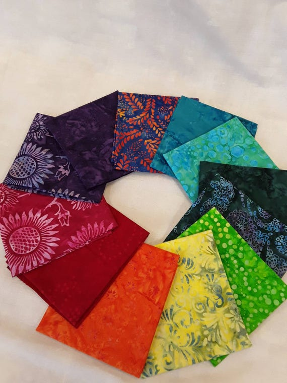 Batik Textiles Fat Quarter Bundle of 12 Hand Cut Rainbow Of Color. Use In Your Favorite 12 Pack Quilt Pattern. Group T