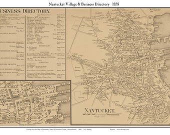 Nantucket Village and Business Directory 1858 map by Walling