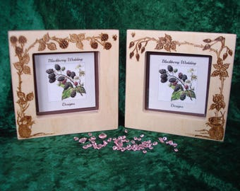 Personalised Photo Frame with pyrography hedgerow design -  wedding gift, anniversary gift, birthday gift, friends gift