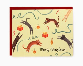 Jumping Cats Holiday Card - Merry Christmas! - handpainted greeting card / HLY-CATS
