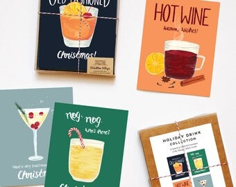 Assorted Box of 8 'Drink Recipe' greeting cards - holiday cards - christmas cards