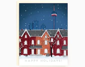 Holiday Card Toronto Night Scene - Toronto-themed - happy holidays - winter - outdoor - nature