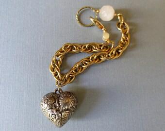 Heart Charm Bracelet,Love Charm Bracelet,Silver Heart Charm Bracelet,Mixed Metal Bracelet,Vintage Assemblage Bracelet,Chunky Chain Bracelet