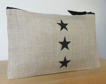 Natural linen with 3 stars black pouch