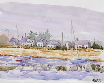 """Landscape original watercolor """"Reflections in Côte d'Armor, Brittany"""" painting countryside decor france sea decor wall france french art sea"""