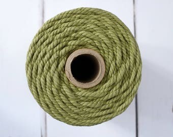 Sage Green Macrame Rope 4mm - Chunky Bakers Twine - 100m Spool - Twisted Cotton Macrame Cord