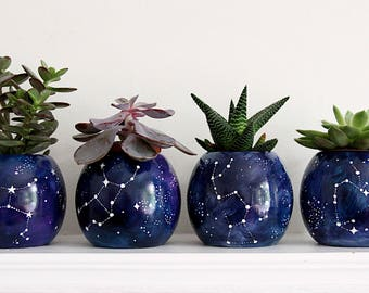 Galaxy planter/ Cosmic Planter/ Zodiac Decor/ Midnight Blue/ Succulent Planter