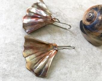 Copper Ginkgo Earrings, Mermaid tail, flame painted copper earrings, copper dangle handforged copper ginko leaf, nature jewelry ocean fish