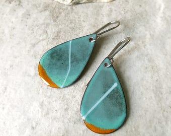 Enameled Earrings, Aqua Blue Enamel Earrings, Green Teardrop Earrings, Abstract Art Earrings, Artisan Earrings, Boho Chic Enameled Copper