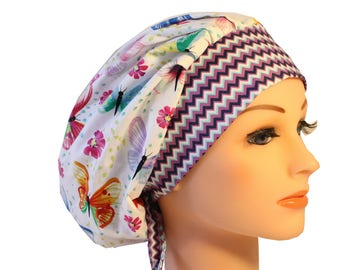 Scrub Cap Surgical Hat Chef   Dentist Hat Tie Back Bouffant Bright Butterflies 2nd Item Ships FREE
