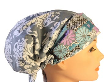 Scrub Hat Cap Chemo Bad Hair Day Hat  European BOHO Grey Damask Purple Ceil Mint Floral 2nd Item Ships FREE