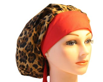 Scrub Cap Surgical Hat Chef   Dentist Hat Tie Back Bouffant Animal Print Leopard Cheetah 2nd Item Ships FREE