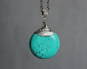 Blue Turquoise Stone Necklace Turquoise Jewelry Turquoise Necklace Turquoise Silver Pendant Natural Stone Pendant Turquoise Rustic Necklace