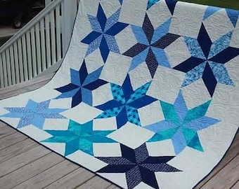Beautiful blues star queen size quilt