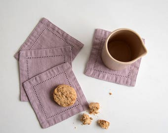 SALE! Set of 4 Pink Lavender Linen Coasters with Hemstitch