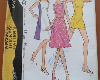 McCalls 3201 Summer Dress A-Line Mini Colorblock Shorts Vintage Sewing Pattern 1970s 70s Size 14