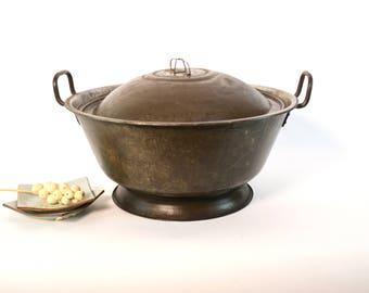 Vintage Asian Wok, Metal Cooking Pot, Extra Large Pot with Lid, Extra-Large Cooking Pan, Asian Pan