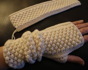 100% natural Merino Wool fingerless mittens