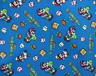Video game super Mario world brother Yoshi   Fat Quarter Fabric Cotton Print
