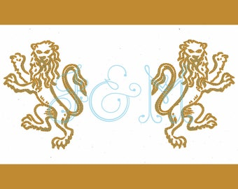 """Hollywood Regency Chinoiserie Lion Frame Machine Embroidery Design Motif 5"""", 7"""""""