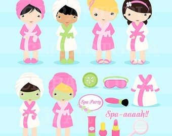 50% OFF SALE Spa Party Digital Clipart / Girls Spa Party Cute Clip art  For personal and comercial Use / Instant download