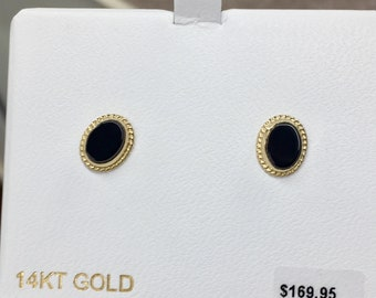 Oval cabachon onyx 14k yellow gold stud earrings jewelry