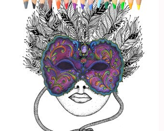 Mask, Carnival, Coloring Page,Mardi Gras,fantasy