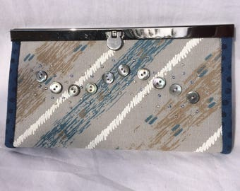 Frame Wallet - Blue - grey with buttons